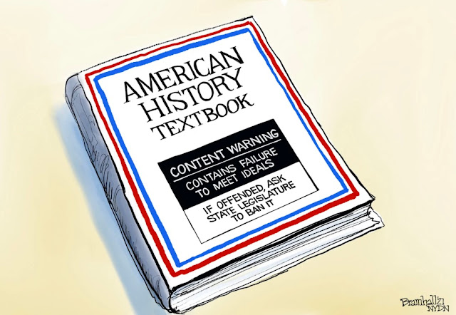 Picture of book with the following on the cover:  American History Textbook.  Warning:  Contains Failure To Meet Ideals.  If Offended, Ask State Legislature To Ban It.