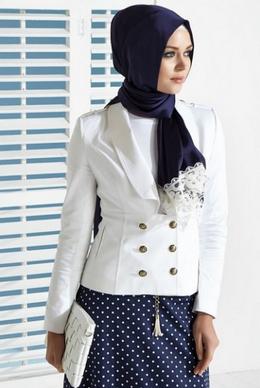 Kombinasi busana kerja muslim wanita casual