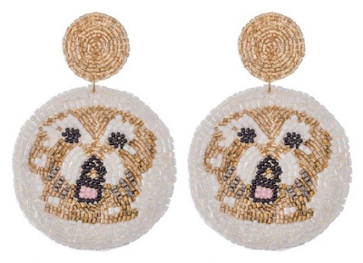 dog seed bead earrings