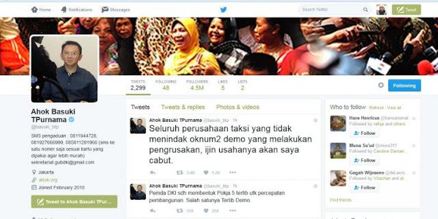 Via Twitter, Ahok Ancam Perusahaan Taksi