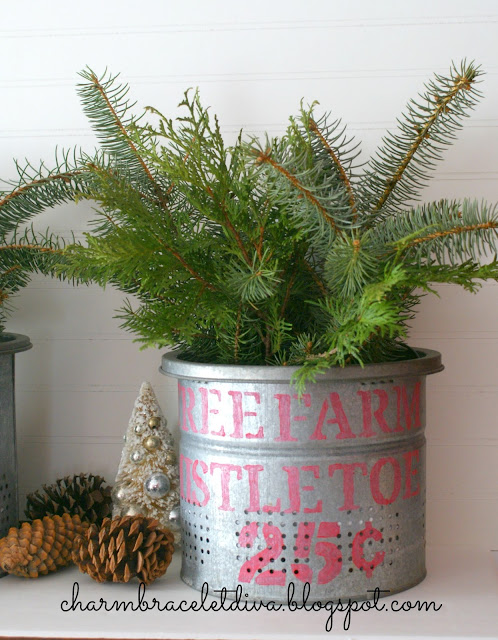 DIY Holiday Greens and Mistletoe Stenciled Galvanized Buckets