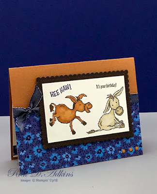 Today's birthday card Using the Darling Donkeys Stamp Set will make you say Hee Haw It's your Birthday!  Learn how to get this stamp set FREE.