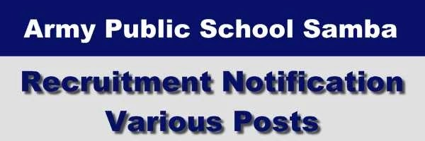 APS (Army Public School) Samba Recruitment Notification 2020