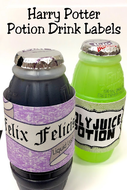 "Create a fun drink addition to your Harry Potter party with these Harry Potter potion drink labels. These free printable drink labels are the perfect addition to a Potions dessert table with four of Harry Potter's famous potions. You'll find ""Felix Felicis"", ""Poly Juice Potion"", ""Amortentia"", and ""Drought of Living Death. #harrypotterpotionlabels #harrypotterparty #waterbottlelabels #diypartymomblog"