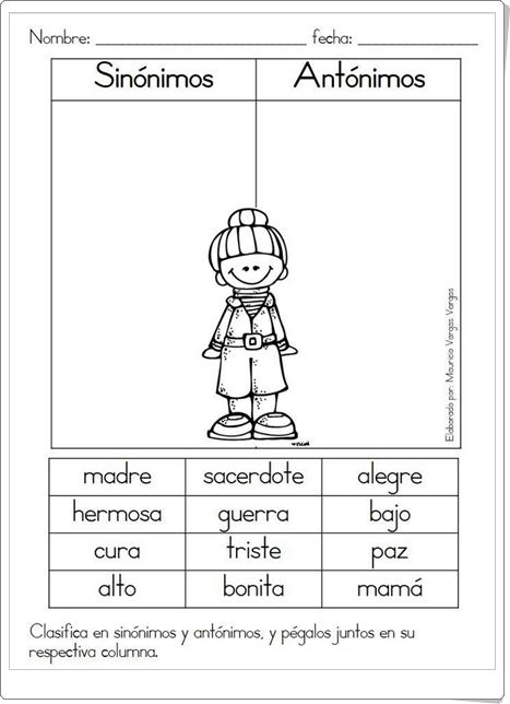 """""""Sinónimos y antónimos"""" (Ficha de Lengua Española de Primaria)"""