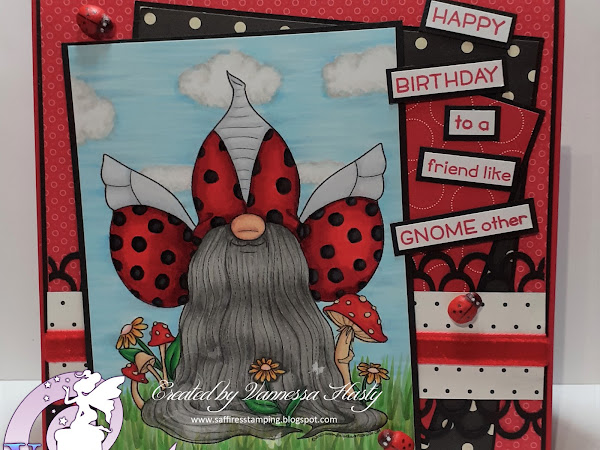 A Spotty Birthday Card Featuring Lady Bug Tomte Gnome