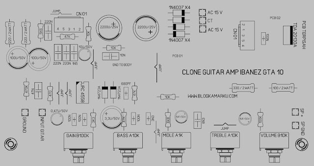 Membuat gitar amplifre Clone IBANEZ GTA layout
