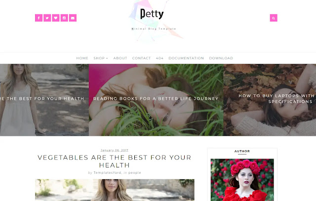 Petty Responsive Minimalist Simple Clean Personal Blog Girly Update Fashions Make Up Blogger Template Theme