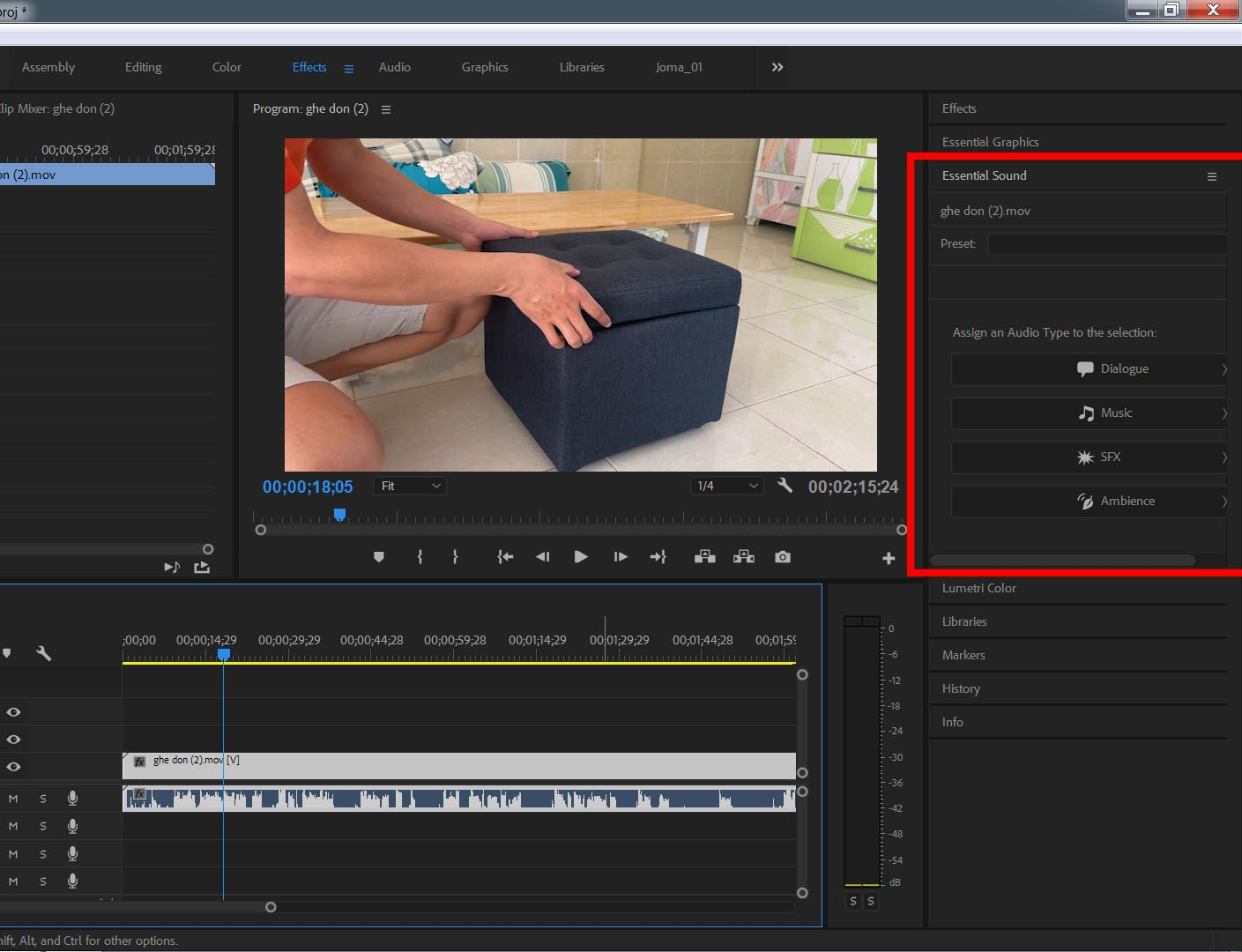 Hướng dẫn cách chỉnh âm thanh trong Adobe Premiere