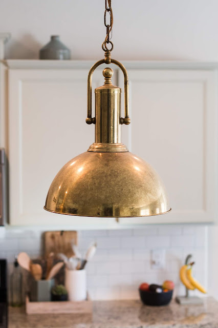 Large Brass Vintage Pendant Light