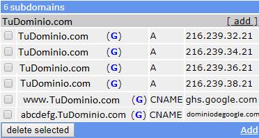 Registros tipo A y CNAME de ejemplo
