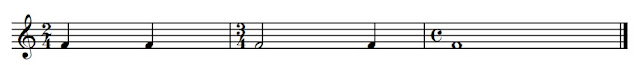 "The above stave contains three bars separated by Bar Lines.  At the end of the line there is a ""Double Bar Line""  At the beginning of each bar there is a Time Signature.  The top number of a time signature tells you how many beats are in a bar, and the bottom number tells you what type of beat it is"