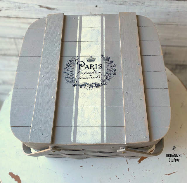 Goodwill Picnic Basket French Style Upcycle #upcycle #grainsackstripe #oldstignstencils #stencil #frenchstyle #redesignwithprima