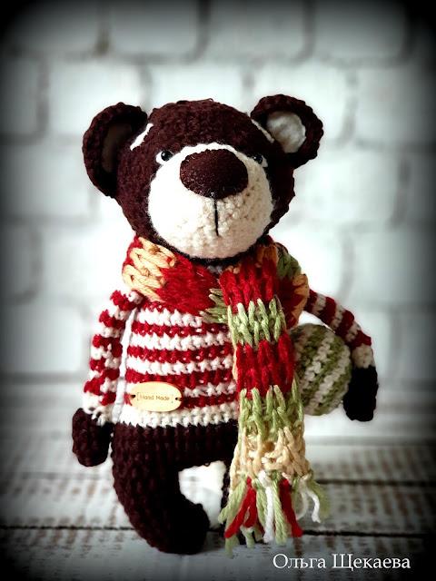 медведь, медвежонок, игрушка, амигуруми, крючком,