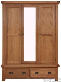 Almari Pakaian 3 Pintu Minimalis Kayu Jati Solid
