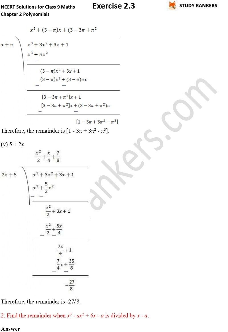 NCERT Solutions for Class 9 Maths Chapter 2 Polynomials Exercise 2.3 Part 3