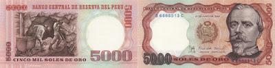 Perú: Billete de 5000 soles de oro de 1985