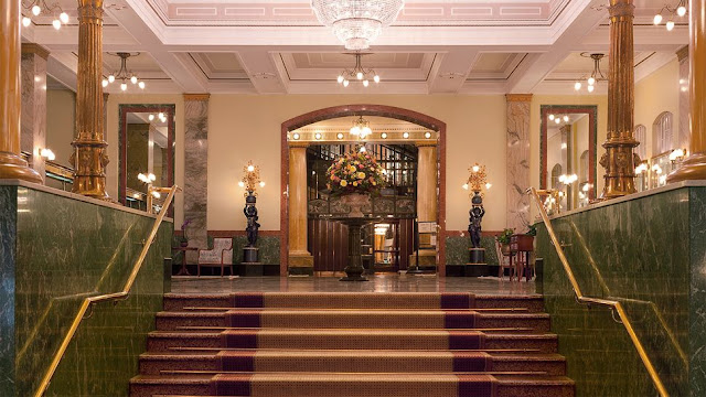beautiful polished staircase in a luxurious hotel Metropol