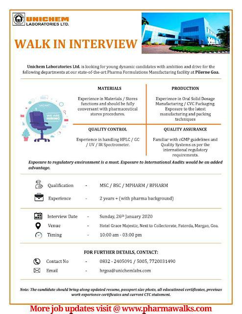 Unichem Laboratories Walk-in drive for QA / QC / Production / Materials on 26th Jan' 2020