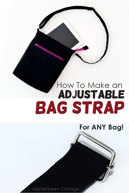 How to make adjustable straps for any bag you want! Easy sewing tutorial for bag sewing, this adjustable bag strap tutorial will help you make your sewing projects - your own bags - look better.