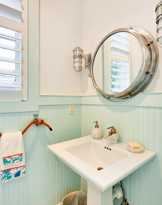 Pastel Blue Painted Wainscoting in Bathroom