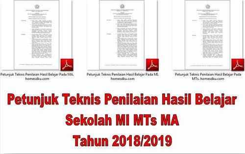 Petunjuk Teknis Penilaian Hasil Belajar Sekolah MI MTs MA Tahun 2018/2019
