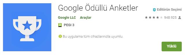 Google Play Kredisi Kazanmak İçin Google'dan Anketler