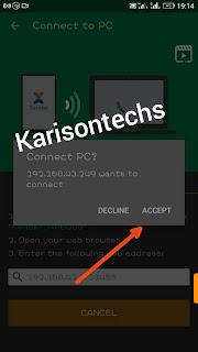 Connection Accept Xender mobile