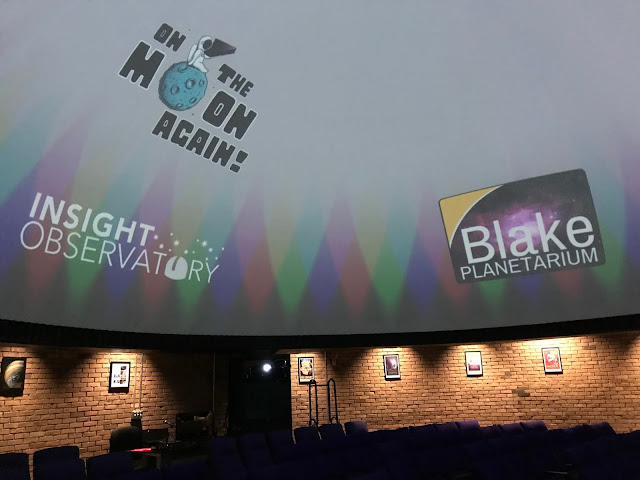 "Interior view of the Blake Planetarium theater prior to the evening's event ""On the Moon Again""."