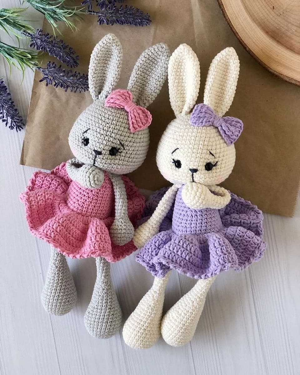 Crochet bunny in dress pattern