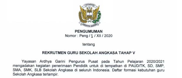 Rekrutmen Guru Sekolah Angkasa Tahap V Yayasan Ardhya Garini (TNI AU) Tahun 2020
