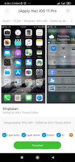 Tema iOS 11 Pro Jam Tengah Untuk Xiaomi MTZ Terbaru