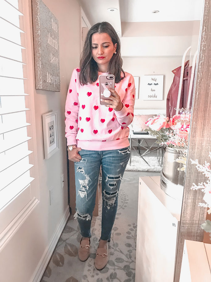 Forever21 Pink red heart sweatshirt sweater blogger outfit