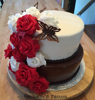 Roses and Butterflies Wedding Cake (Fondant and Chocolate)