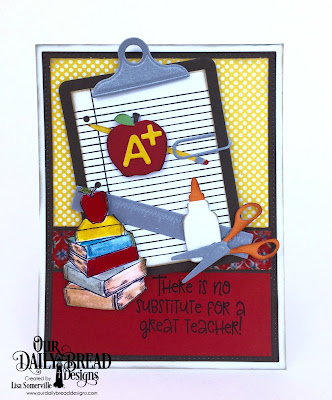 Stamps: Class Act, Stamp/Die Duos: Notebook Paper, Custom Dies: Clipboard Set, Pierced Rectangles, A+ Apples,  Paper Collections: Americana Quilt, Birthday Brights, Old Glory