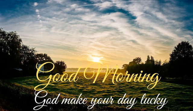 Good Morning message with Sunrise in Sky Image