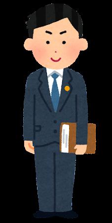 士業バッジをつけた人のイラスト(男性・眼鏡なし)