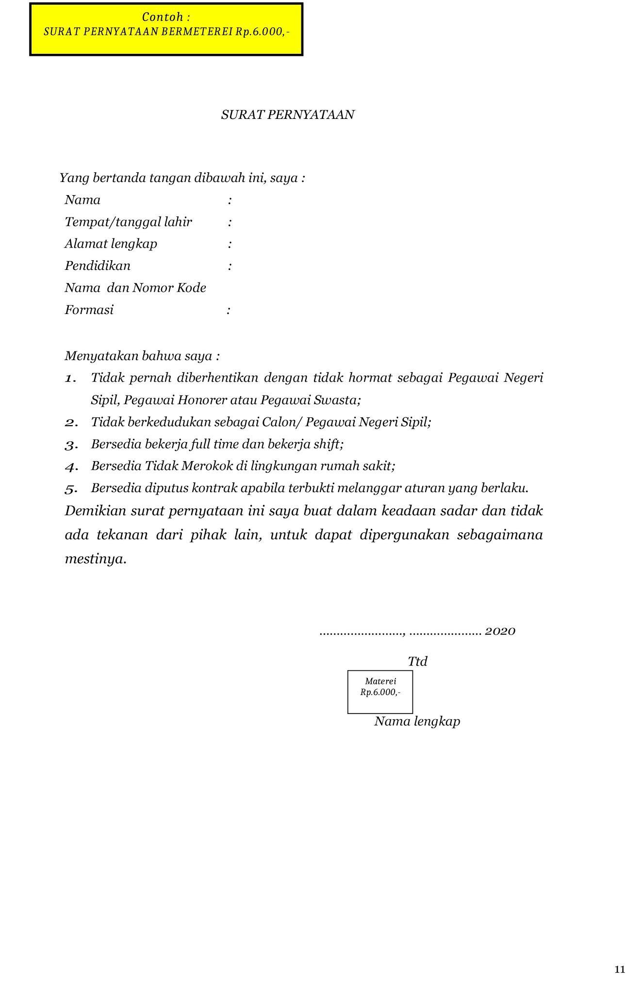 SURAT PERNYATAAN BERMETEREI Rp.6.000,-