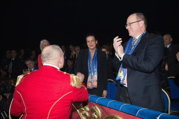 Prince Albert II of Monaco waves next to his sister Princess Stephanie of Monaco as they attend the 39th Monte-Carlo International Circus Festival in Monaco