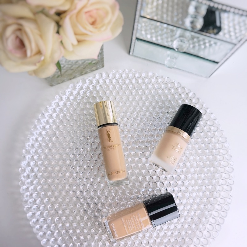 fair to light foundation comparition swatches Chanel YSL Tarte
