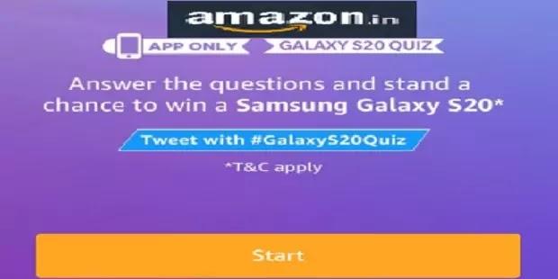 Amazon quiz answers win Samsung Galaxy S20 /अमेजॉन क्विज उत्तर दे जीते समसंग गैलेक्सी  एस-20
