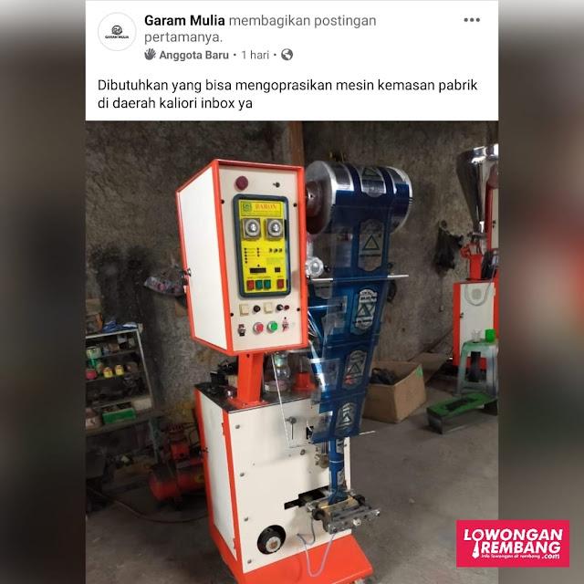 Lowongan Kerja Operator Mesin Kemasan PT Garam Mulia Rembang