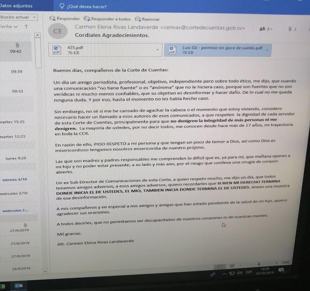 La  presidenta de la Corte Cuentas de la República Carmen Elena Rivas responde a SEÑAMIENTOS del Movimiento de Empleados de la Corte de Cuentas de la República.