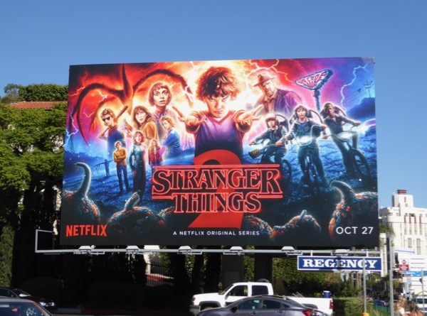 Stranger Things 2 illustrated billboard