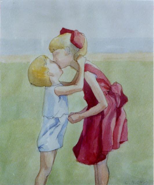 Cristina Alonso arte original acuarela chicos el beso