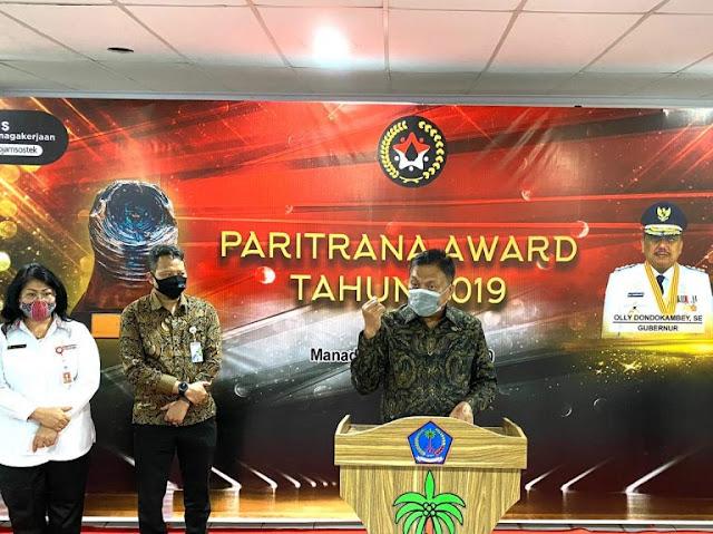 Pemprov Sulut Sabet Juara 1 Paritrana Award 2019 se - Indonesia