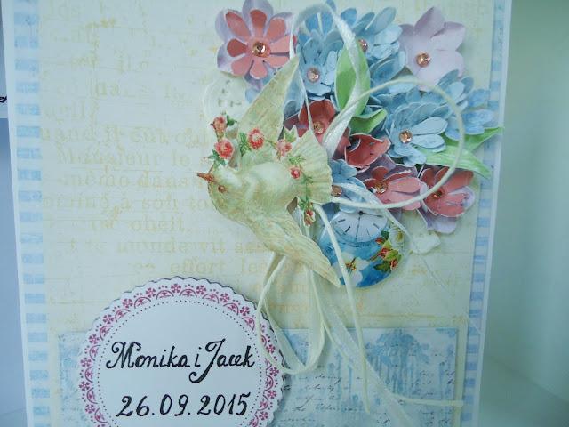 kartka z kwiatami hand made