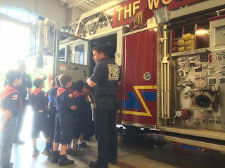 Cub Scouts visited a fire station