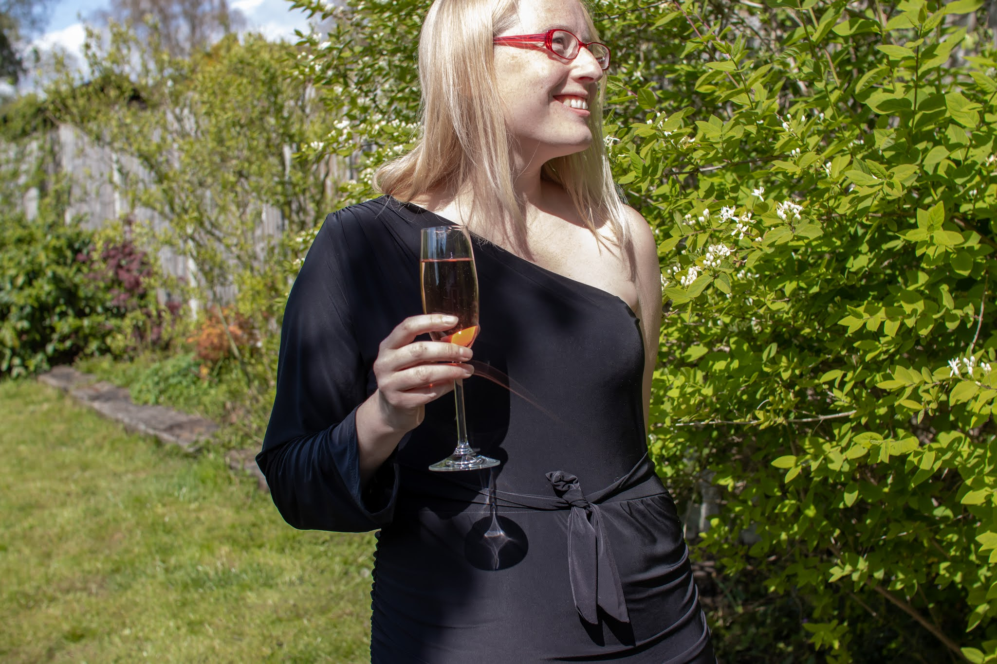 Me in a garden wearing a posh frock and drinking pink champagne
