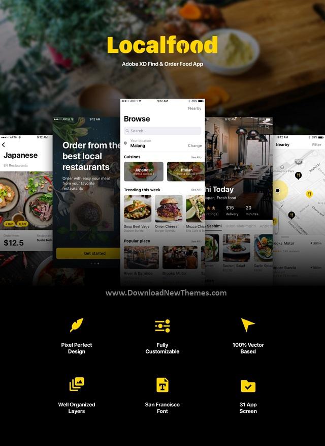 Adobe XD Find & Order Food App